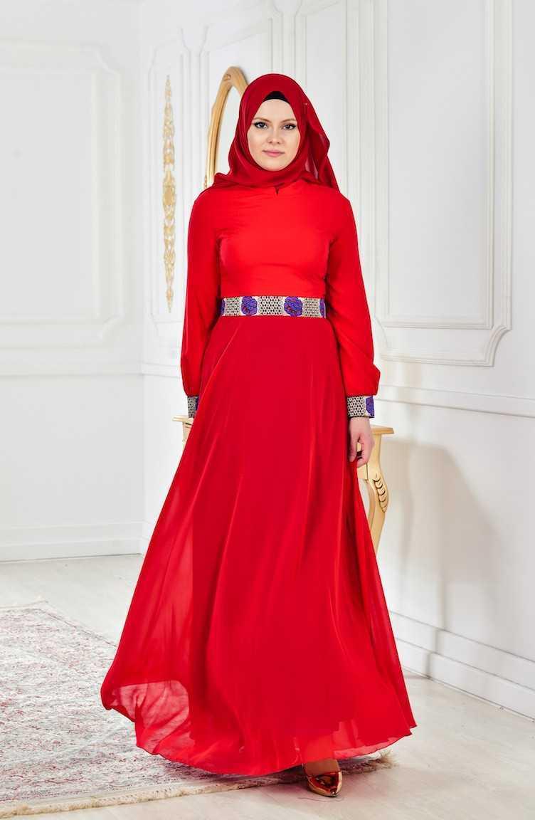 Sefamerve Kemerli Kırmızı Tesettür Abiye Elbise Modelleri