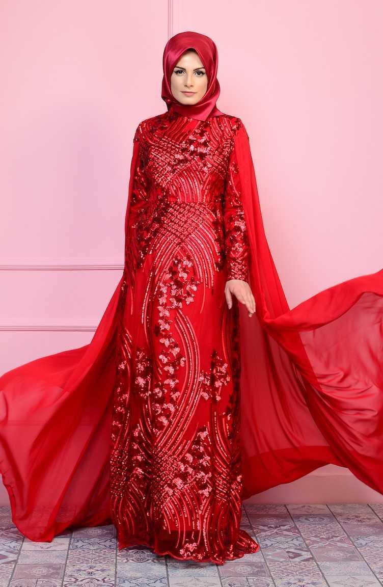 Sefamerve Payet Detaylı Kırmızı Tesettür Abiye Elbise Modelleri