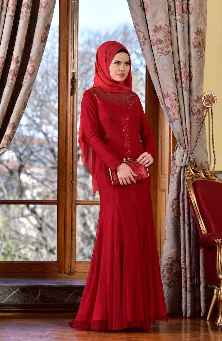 Sefamerve Taş Baskılı Kırmızı Tesettür Abiye Elbise Modelleri