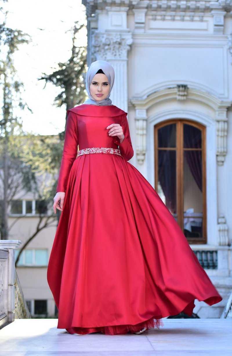 Sefamerve Taşlı Kırmızı Tesettür Abiye Elbise Modelleri
