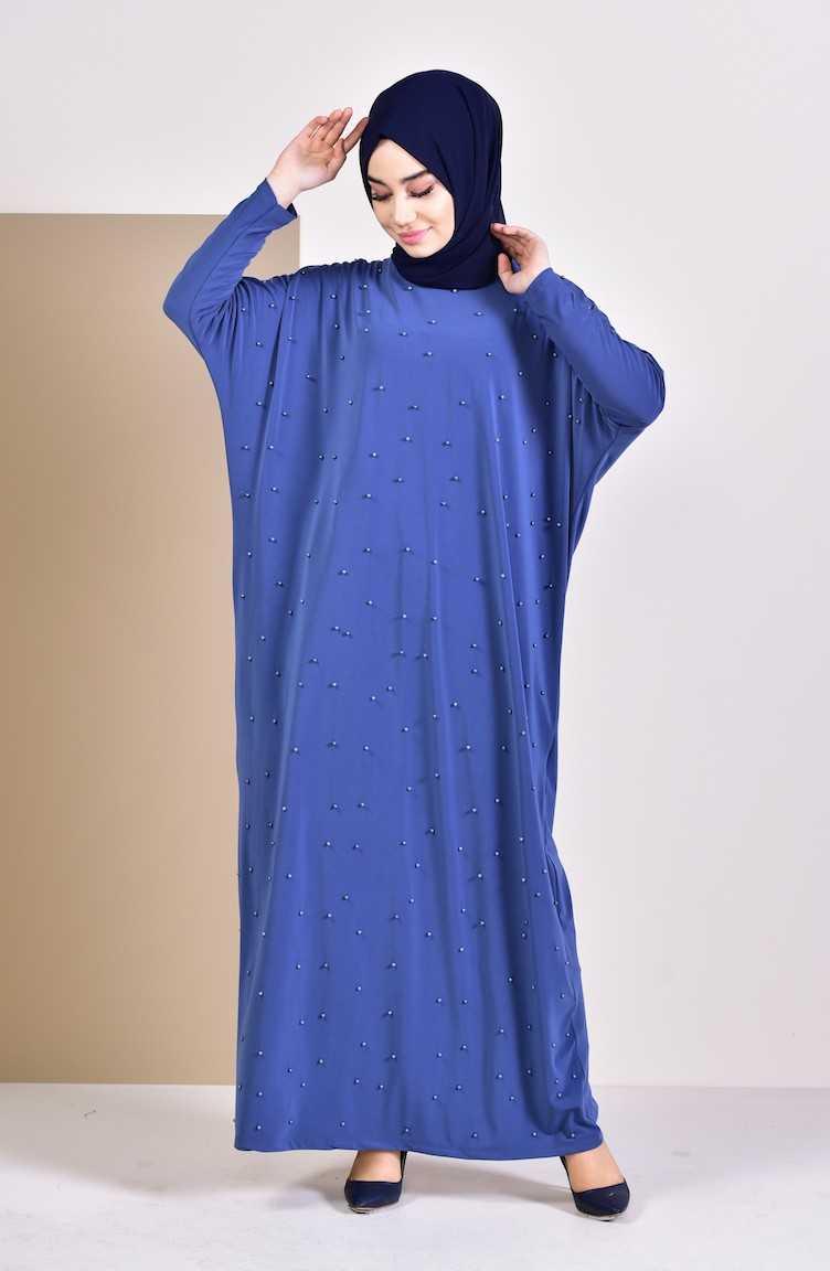 Sefamerve Tesettür İncili Yarasa Kol Elbise Modelleri