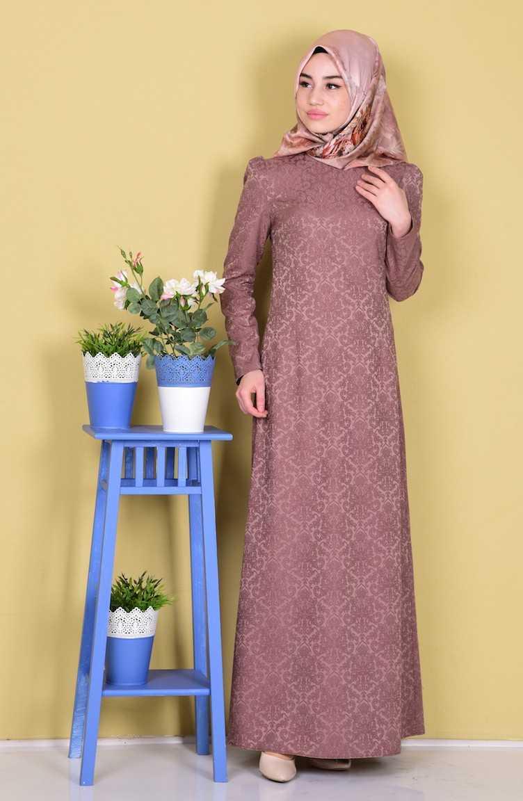 Sefamerve Tesettür Jakarlı Elbise Modelleri