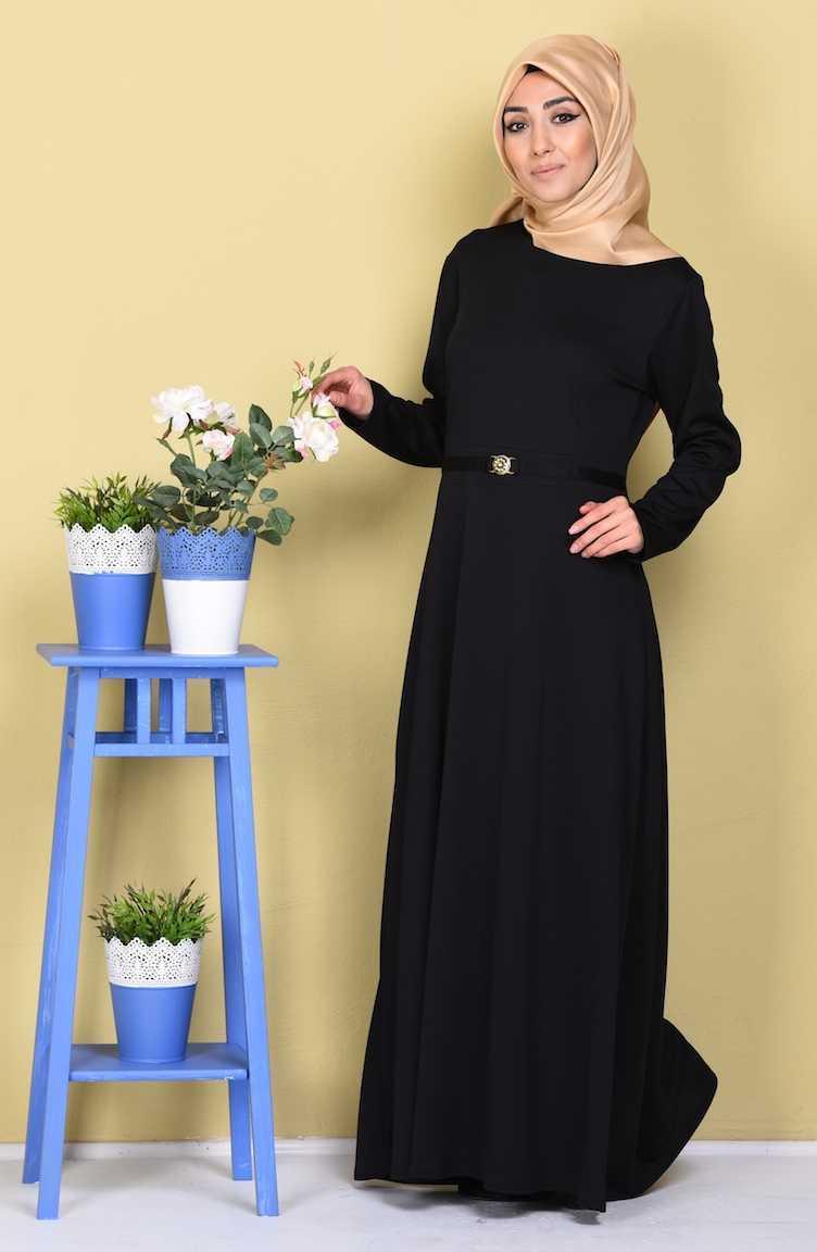 Sefamerve Tesettür Tokalı Siyah Elbise Modelleri