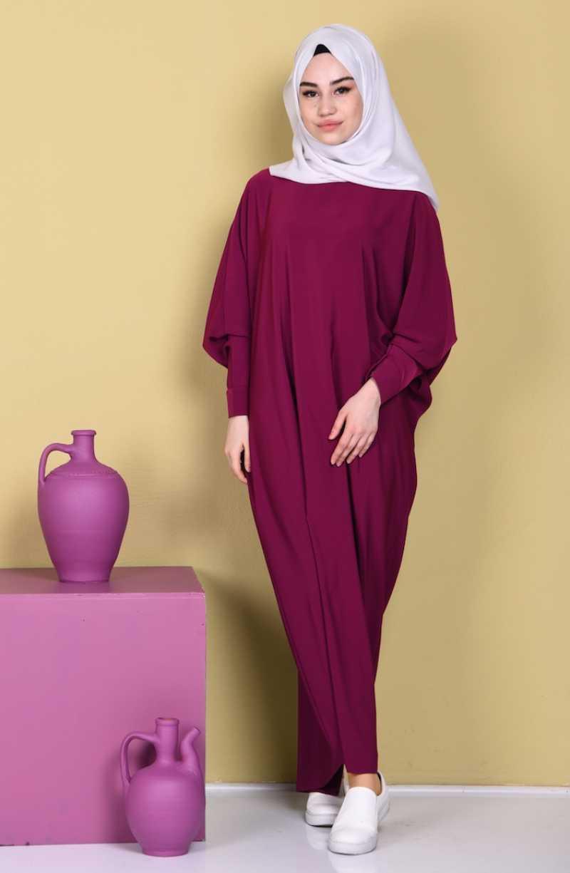 Sefamerve Tesettür Yarasa Kol Fuşya Elbise Modelleri
