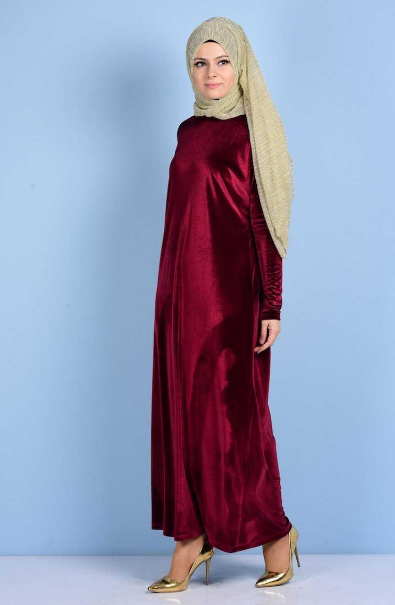 Sefamerve Tesettür Yarasa Kol Kadife Elbise Modelleri