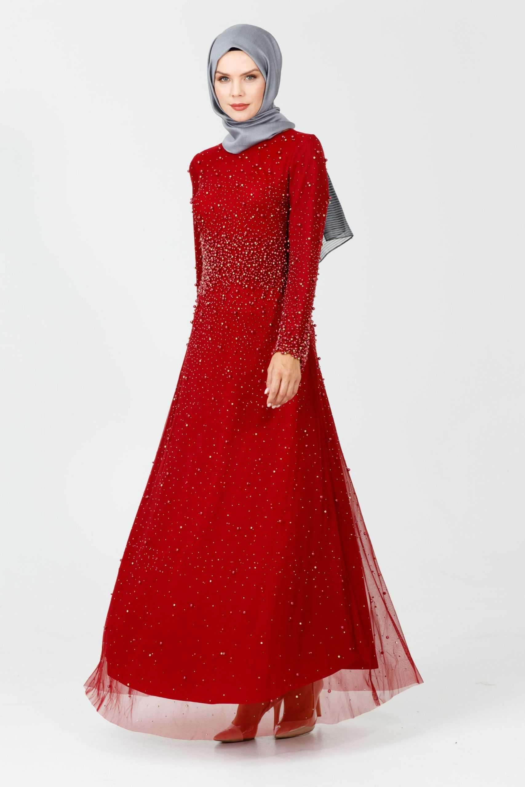 Setrms Kırmızı Tesettür Abiye Elbise Modelleri