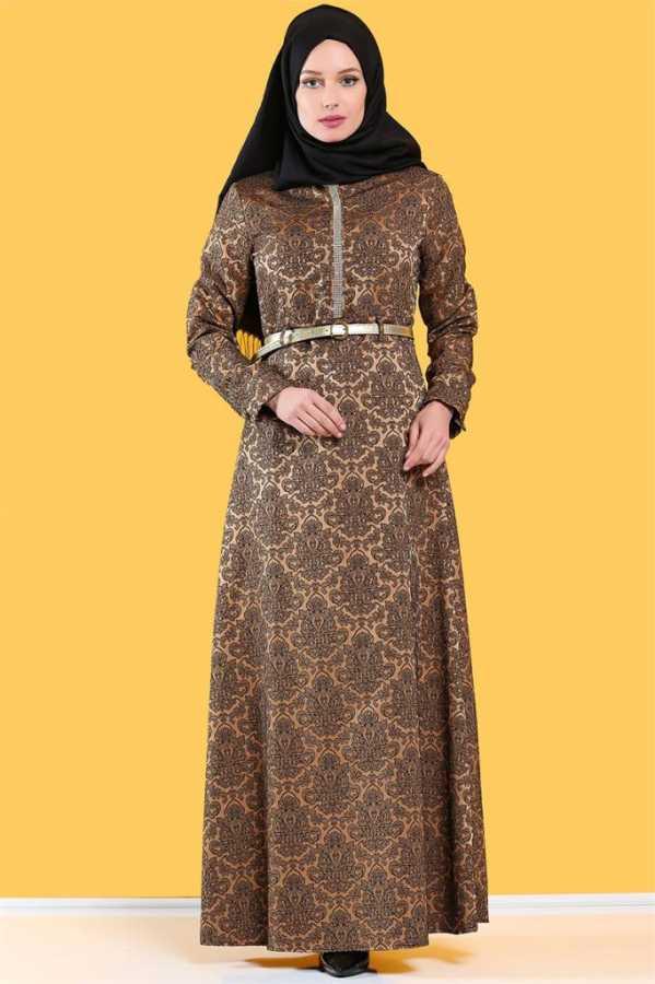 Tesettür Dünyası Jakarlı Elbise Modelleri