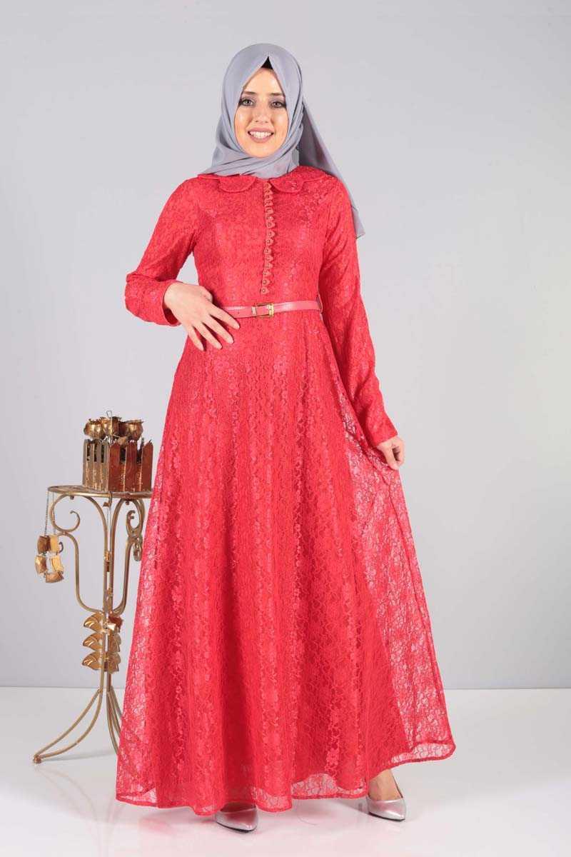 Tesettür Dünyası Kırmızı Abiye Elbise Modelleri