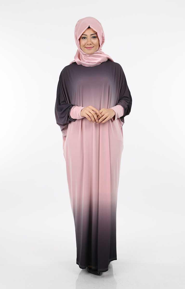 Tesettür Pazarı Yarasa Kol Çift Renk Elbise Modelleri