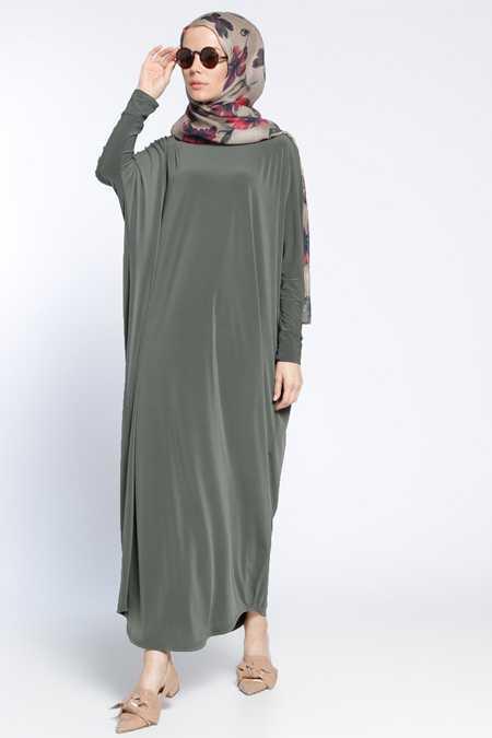 Tesettür Yarasa Kol Elbise Modelleri