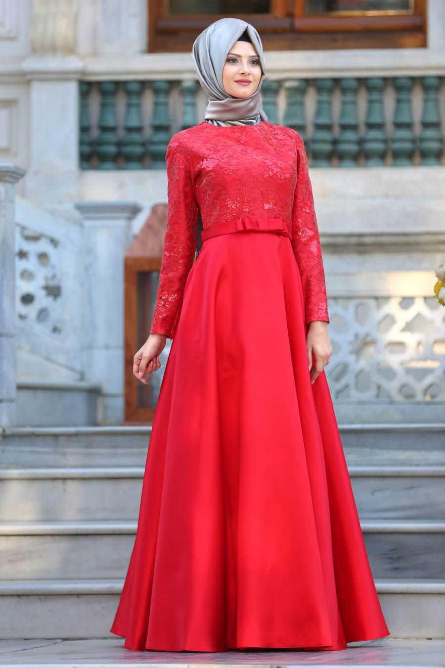 Tuay Kırmızı Tesettür Abiye Elbise Modelleri