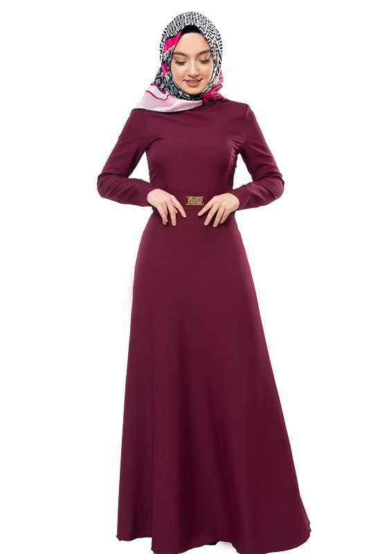 Zenane Tesettür Tokalı Vişne Elbise Modelleri