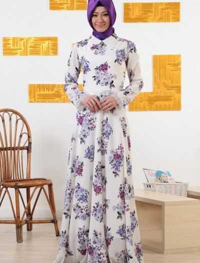 Ala London Tesettür İpek Elbise Modelleri