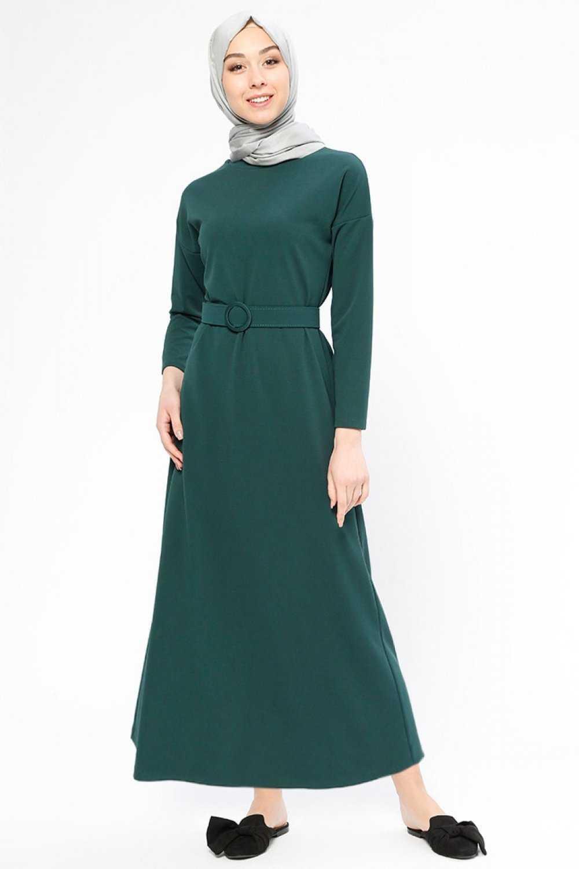 Beha Tesettür Zümrüt Yeşili Elbise Modelleri