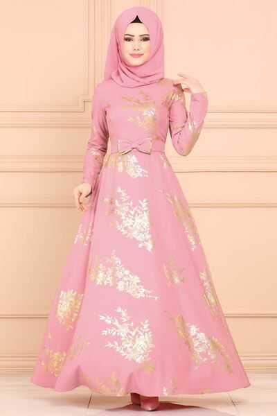 En Güzel Moda Selvim Varaklı Tesettür Elbise Modelleri