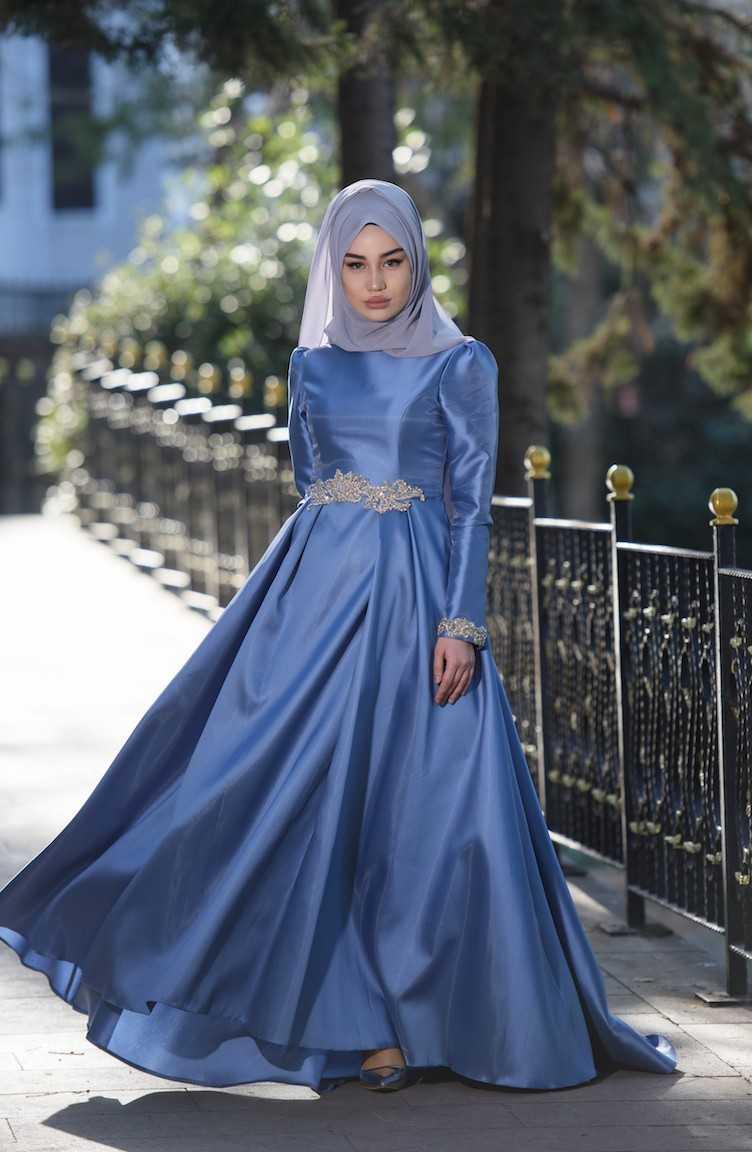 En Güzel Sefamerve Tesettür Tafta Abiye Elbise Modelleri
