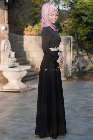 Femmy Store Tesettür Siyah İpek Elbise Modelleri