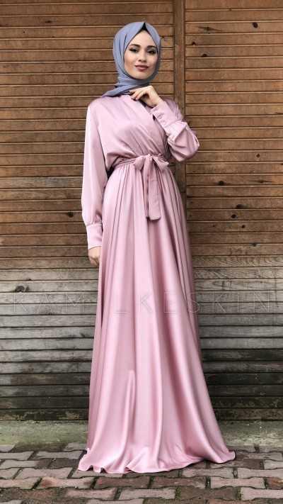 Kamil Keskin Kruvaze Tesettür İpek Elbise Modelleri