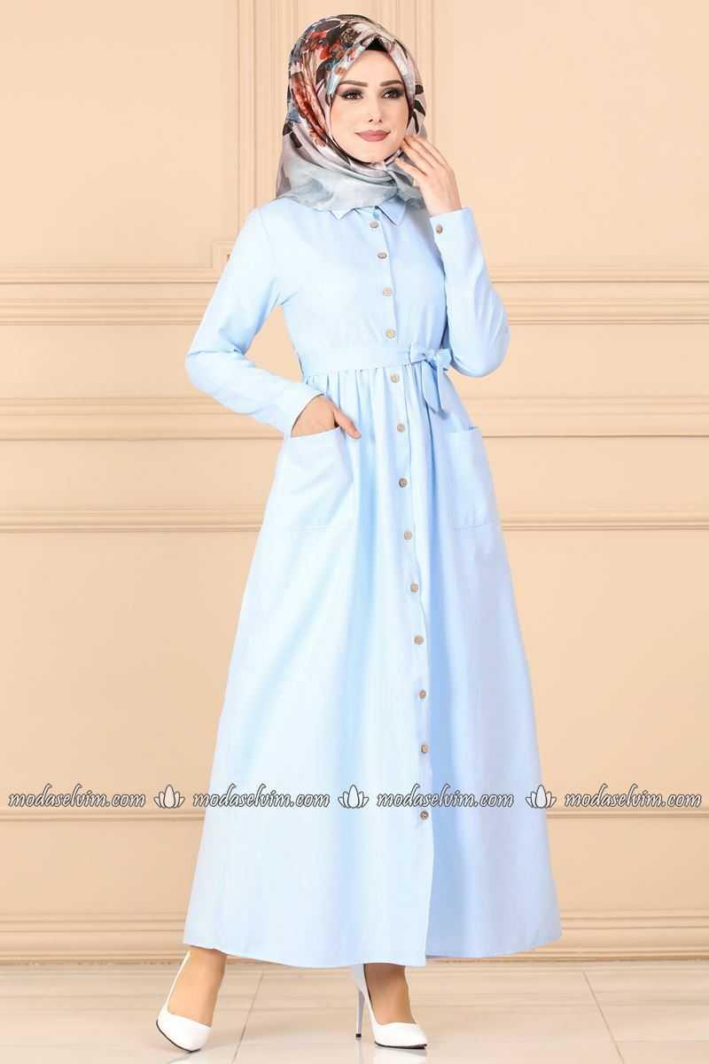 Moda Selvim Cepli Açık Renk Tesettür Elbise Modelleri