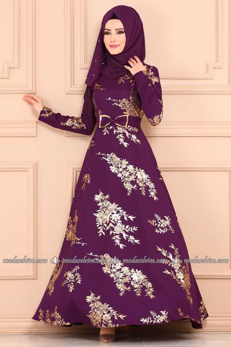 Moda Selvim Gold Varaklı Tesettür Elbise Modelleri