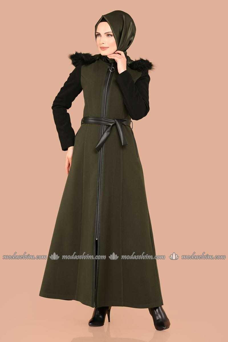 Moda Selvim Tesettür Deri Detaylı Pardesü Modelleri