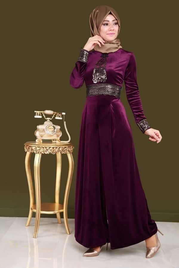 Moda Selvim Varaklı Şık Tesettür Elbise Modelleri