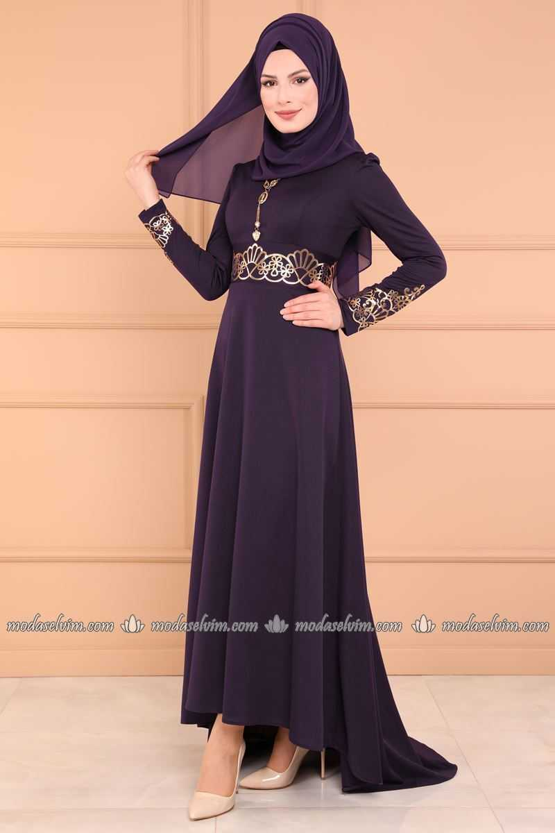 Moda Selvim Varaklı Mor Tesettür Elbise Modelleri