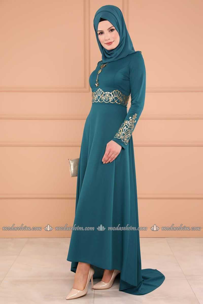 Moda Selvim Varaklı Petrol Tesettür Elbise Modelleri