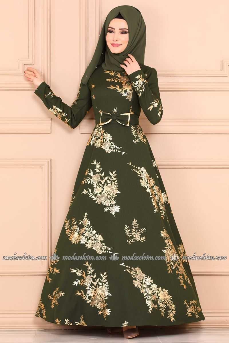 Moda Selvim Varaklı Tesettür Elbise Modelleri