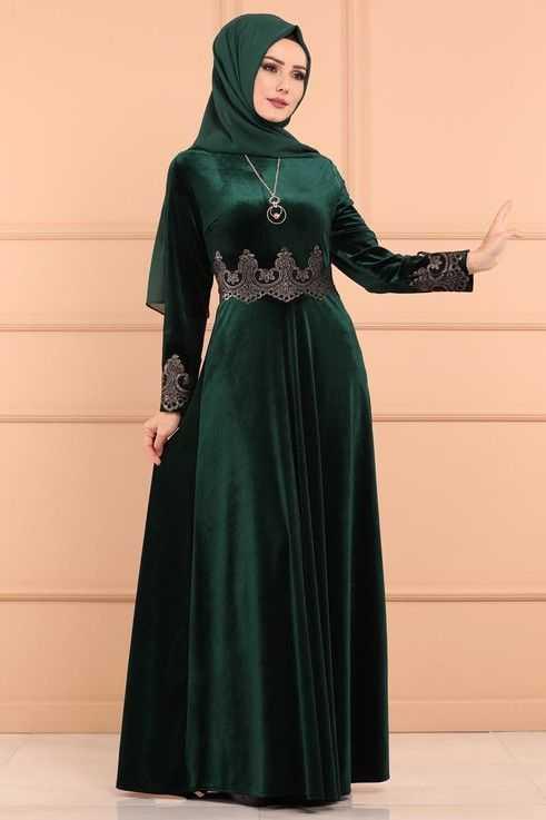 Moda Selvim Varaklı Tesettür Kadife Elbise Modelleri