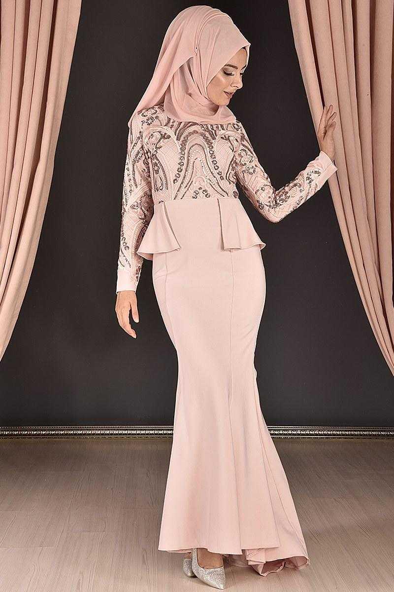 Modahira Tesettür Kuyruklu Abiye Elbise Modelleri