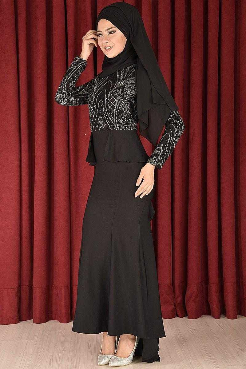 Modahira Tesettür Kuyruklu Siyah Abiye Elbise Modelleri