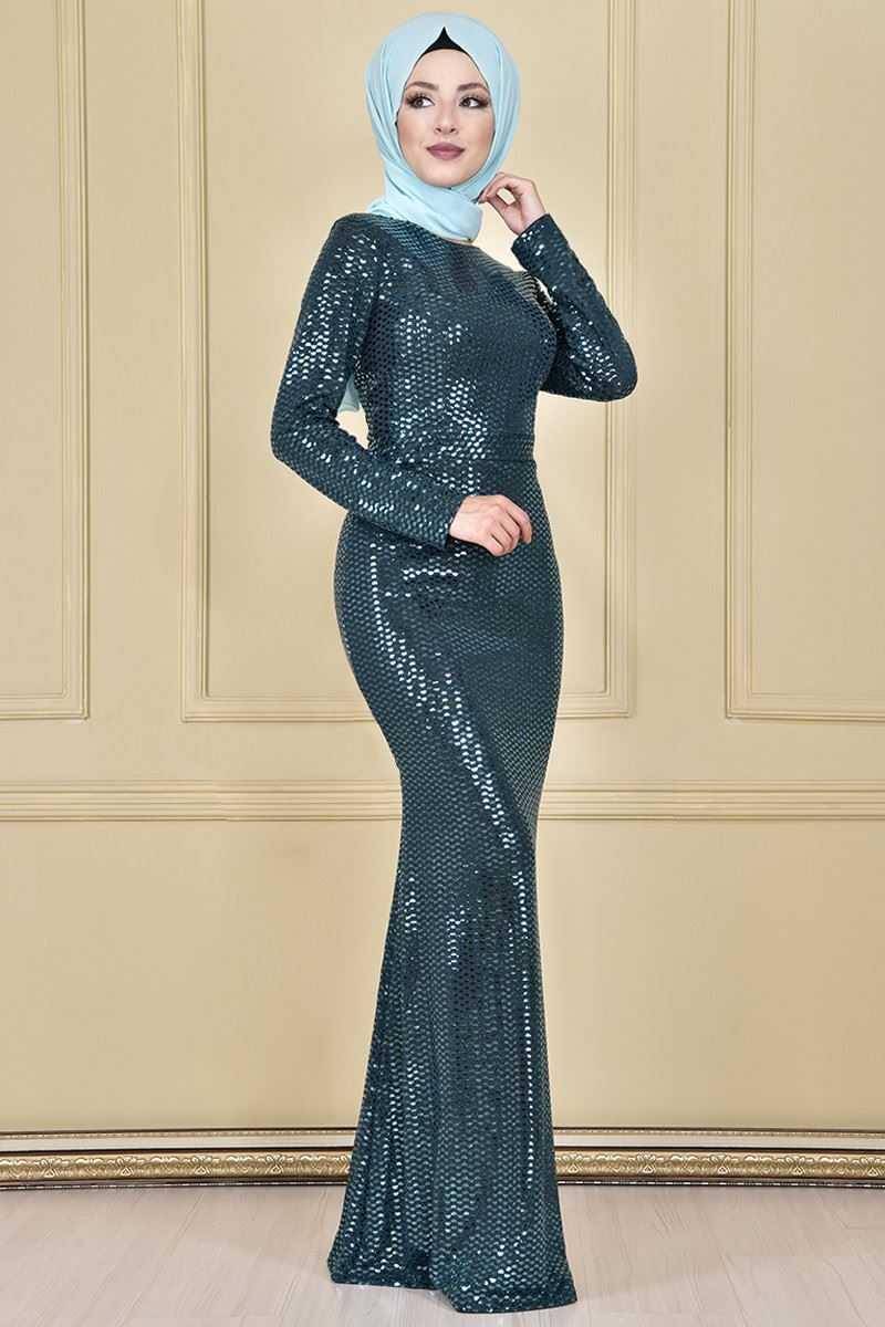 Modamerve Tesettür Pullu Kuyruklu Abiye Elbise Modelleri