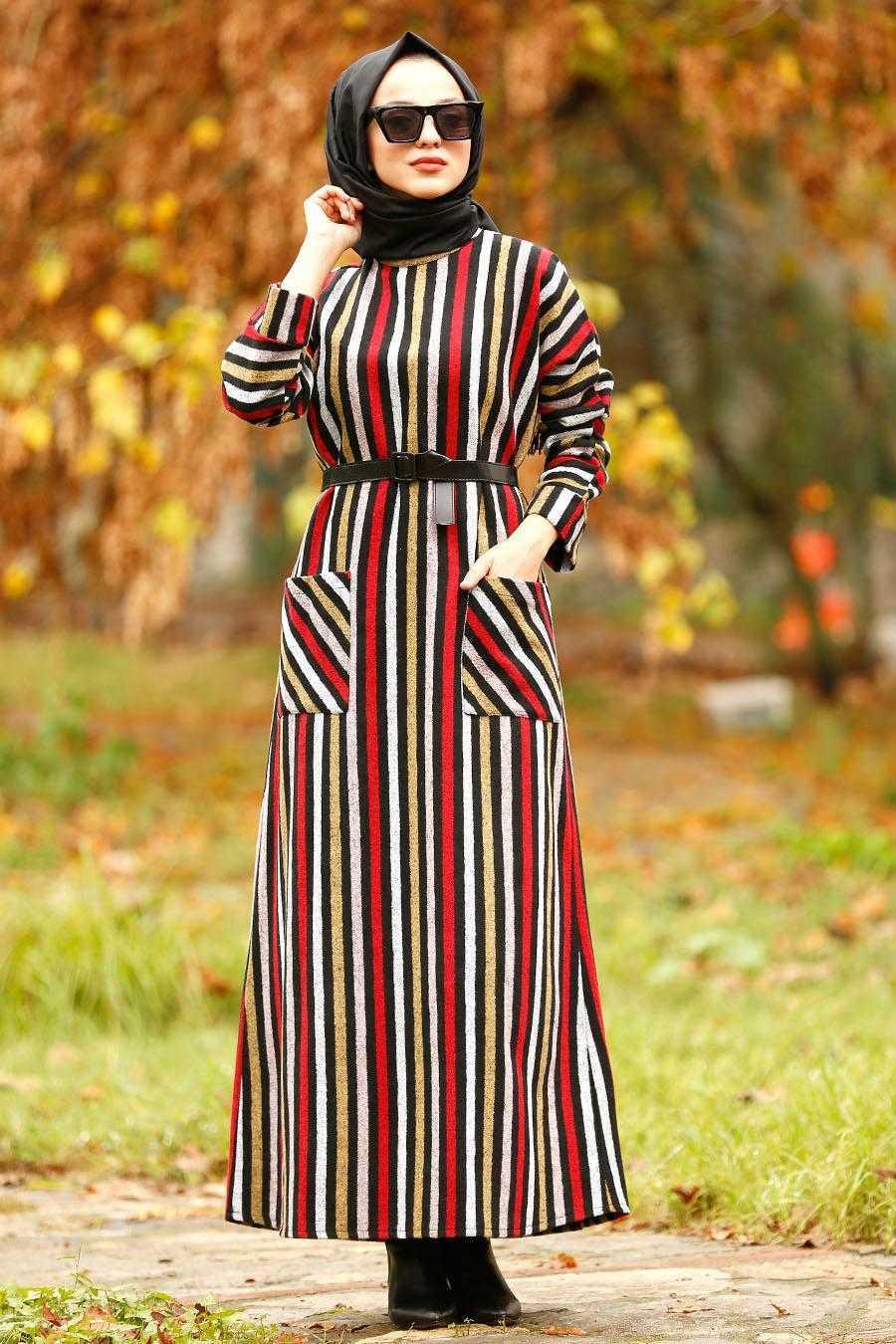 Nayla Collection Cepli Desenli Tesettür Elbise Modelleri