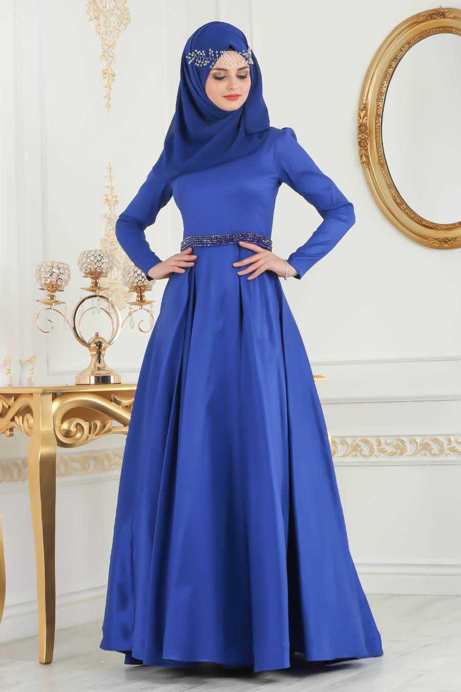 Neva Style Tesettür Boncuklu Tafta Abiye Elbise Modelleri