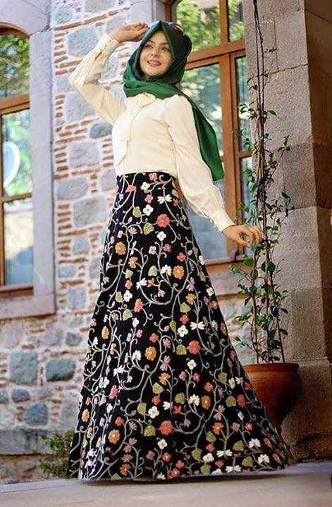 Pınar Şems Çiçek Desenli Tesettür Etek Modelleri