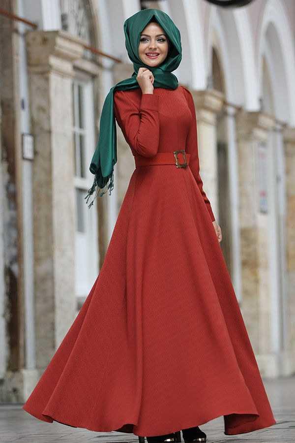 Pınar Şems Cepli Kemerli Tesettür Elbise Modelleri