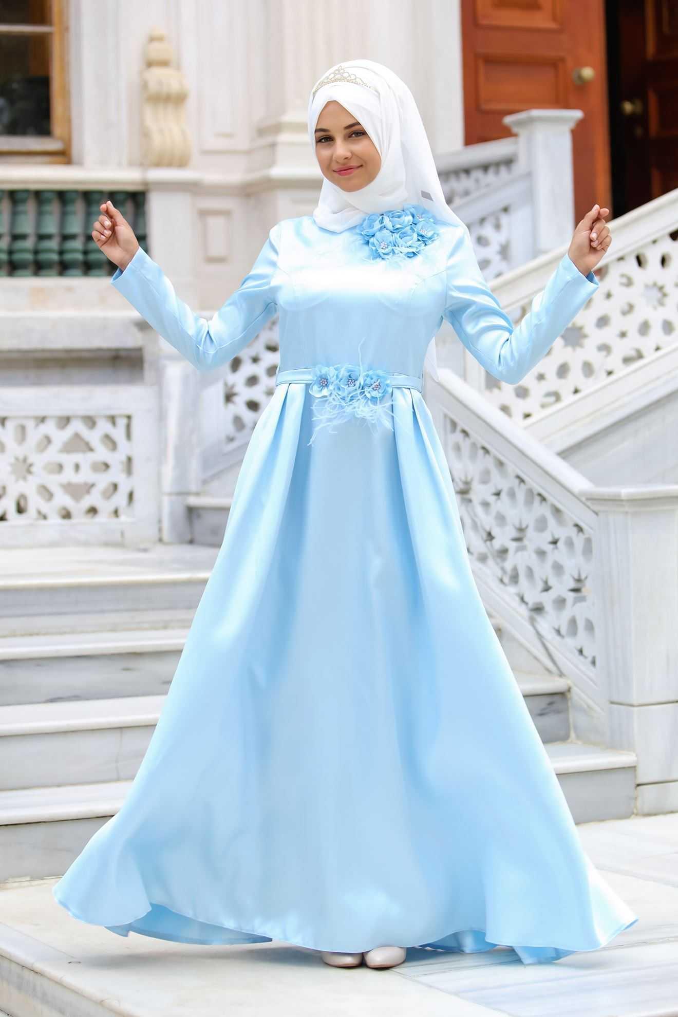 Sedanur Üç Boyutlu Tesettür Tafta Abiye Elbise Modelleri