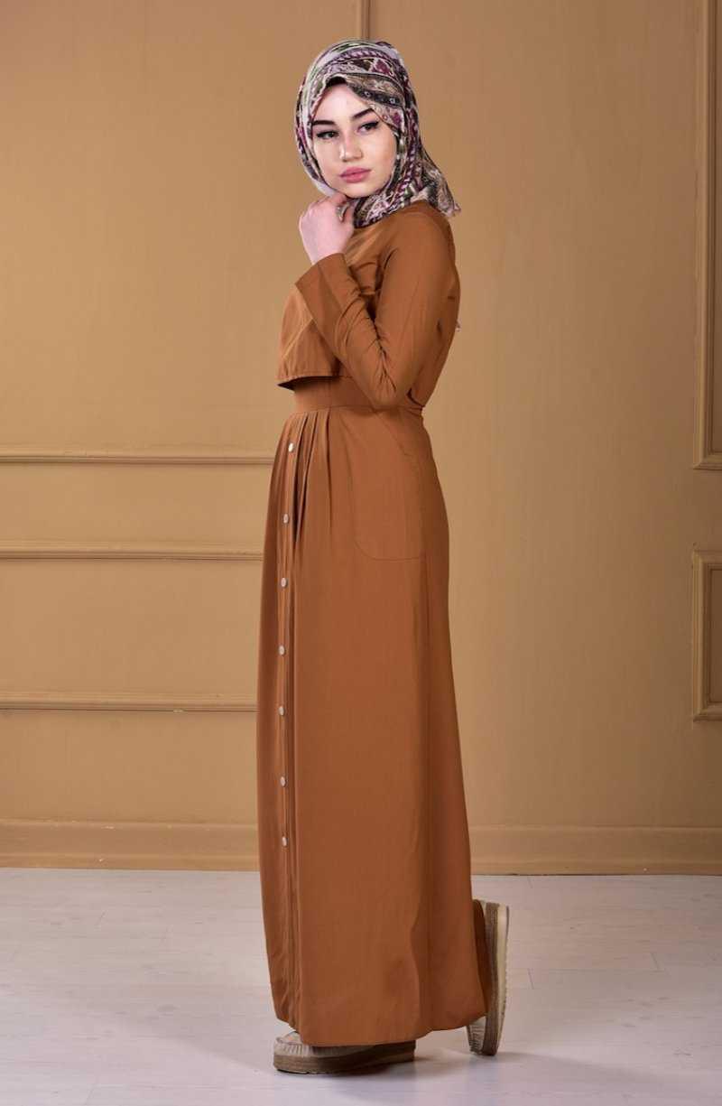 Sefamerve Cepli Tesettür Taba Elbise Modelleri