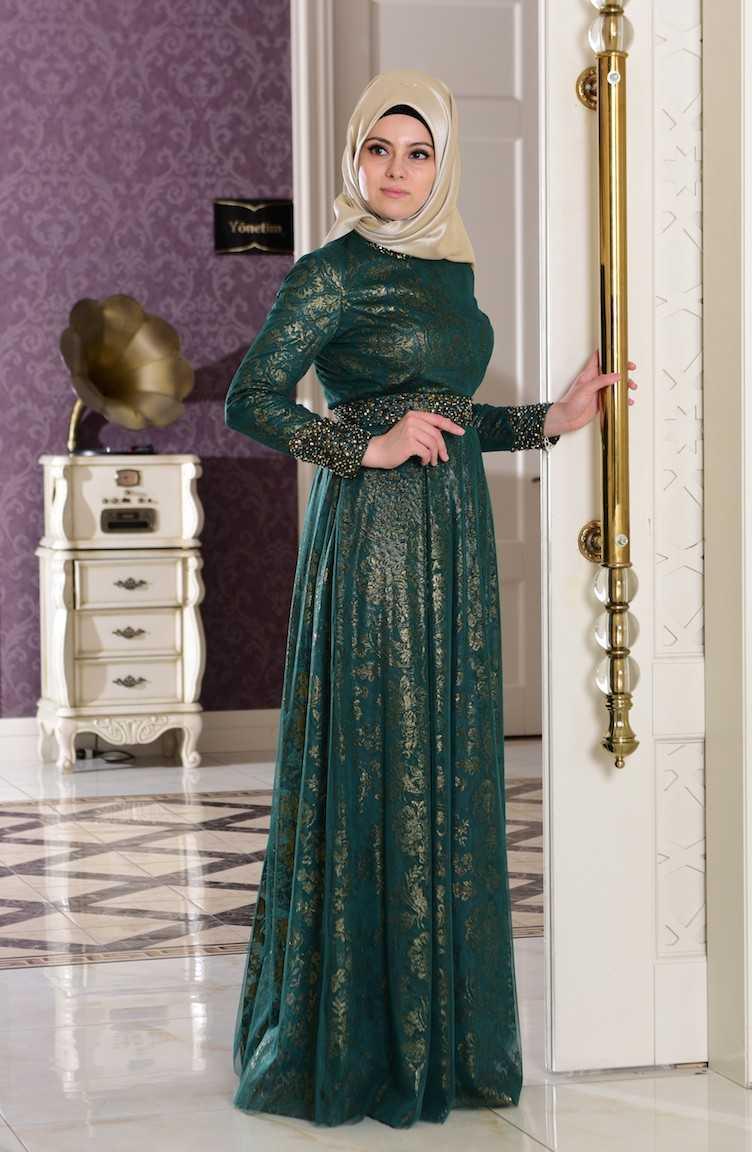 Sefamerve Zümrüt Yeşili Abiye Elbise Modelleri