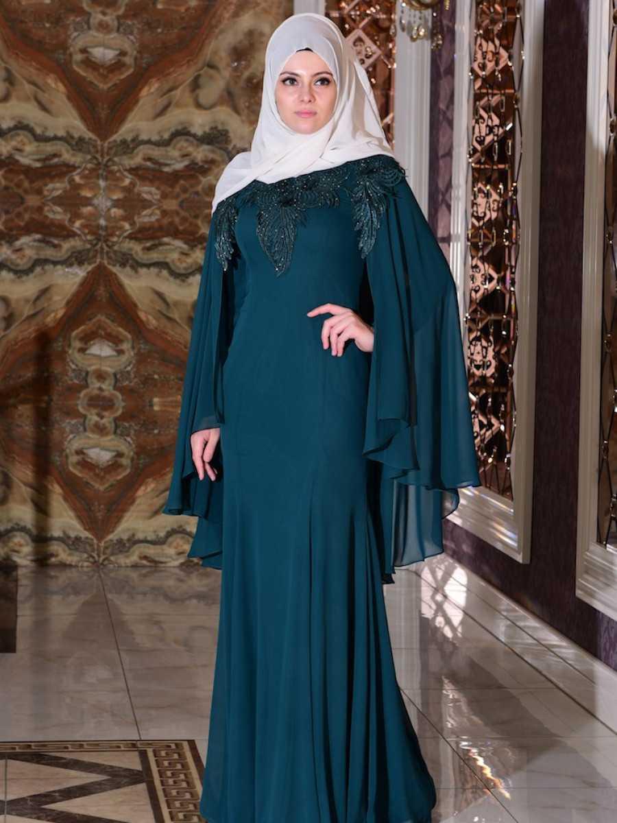 Sefamerve Zümrüt Yeşili Tüllü Abiye Elbise Modelleri