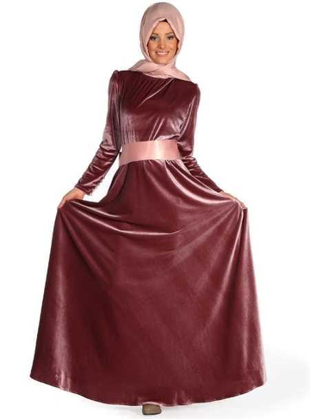 Tesettür İpek Kadife Elbise Modelleri