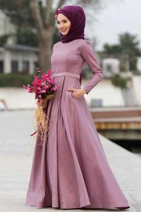 Tuay Tesettür Boncuklu Tafta Abiye Elbise Modelleri