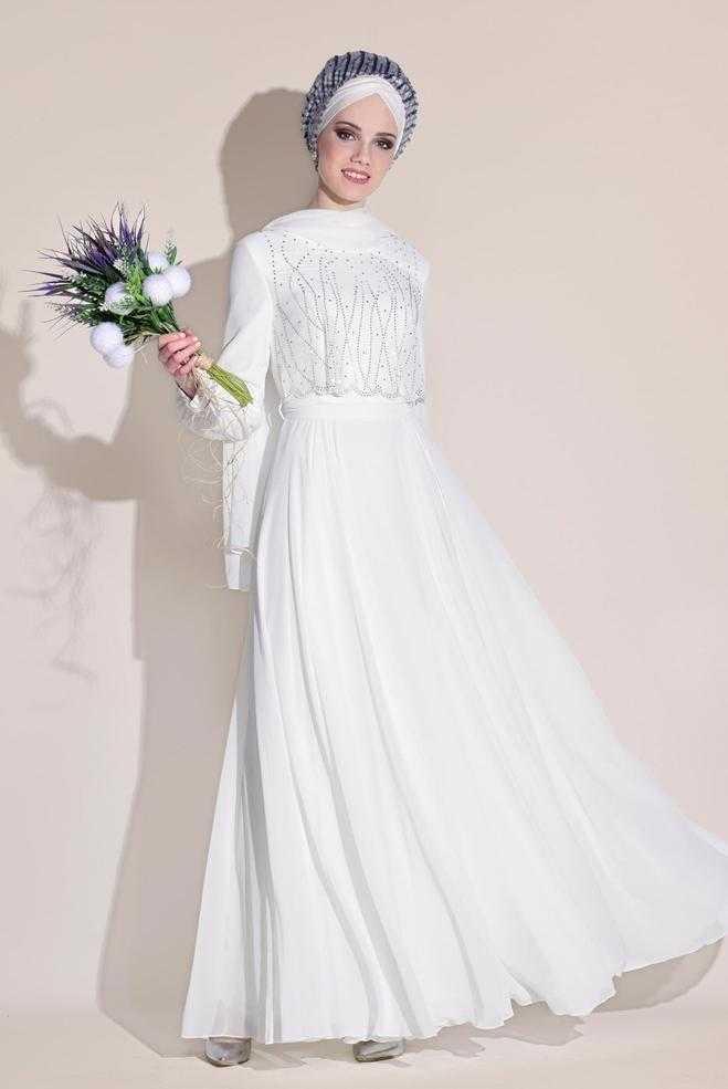 Alvina Taş Baskılı Tesettür Şifon Abiye Elbise Modelleri