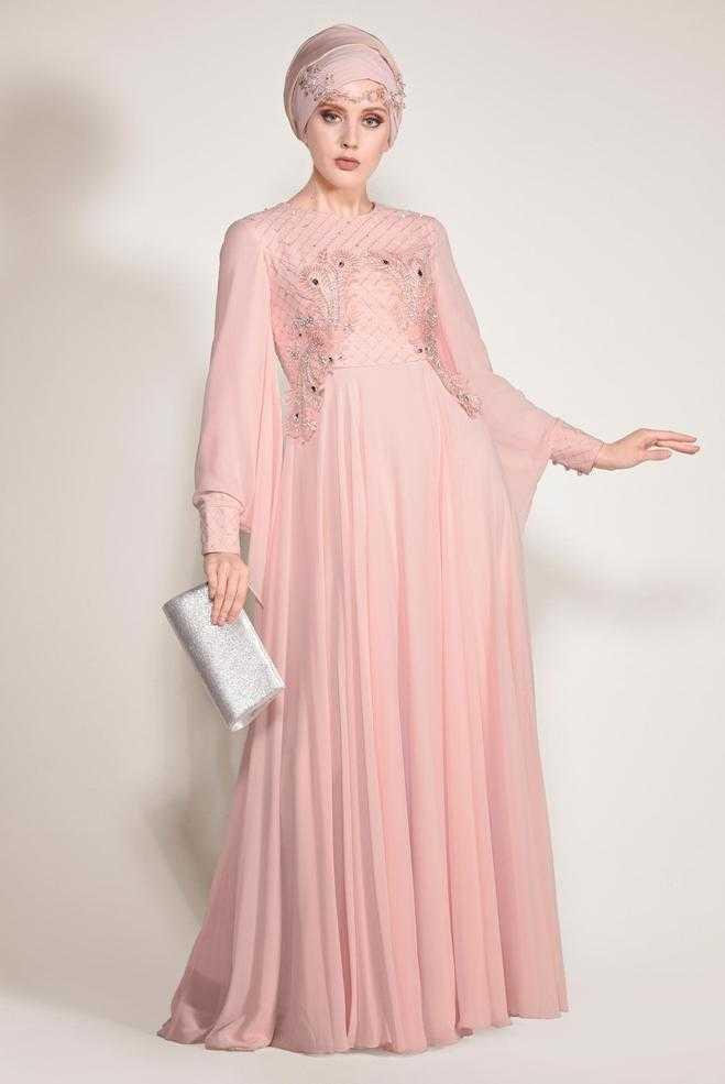 Alvina Tesettür İşlemeli Şifon Abiye Elbise Modelleri