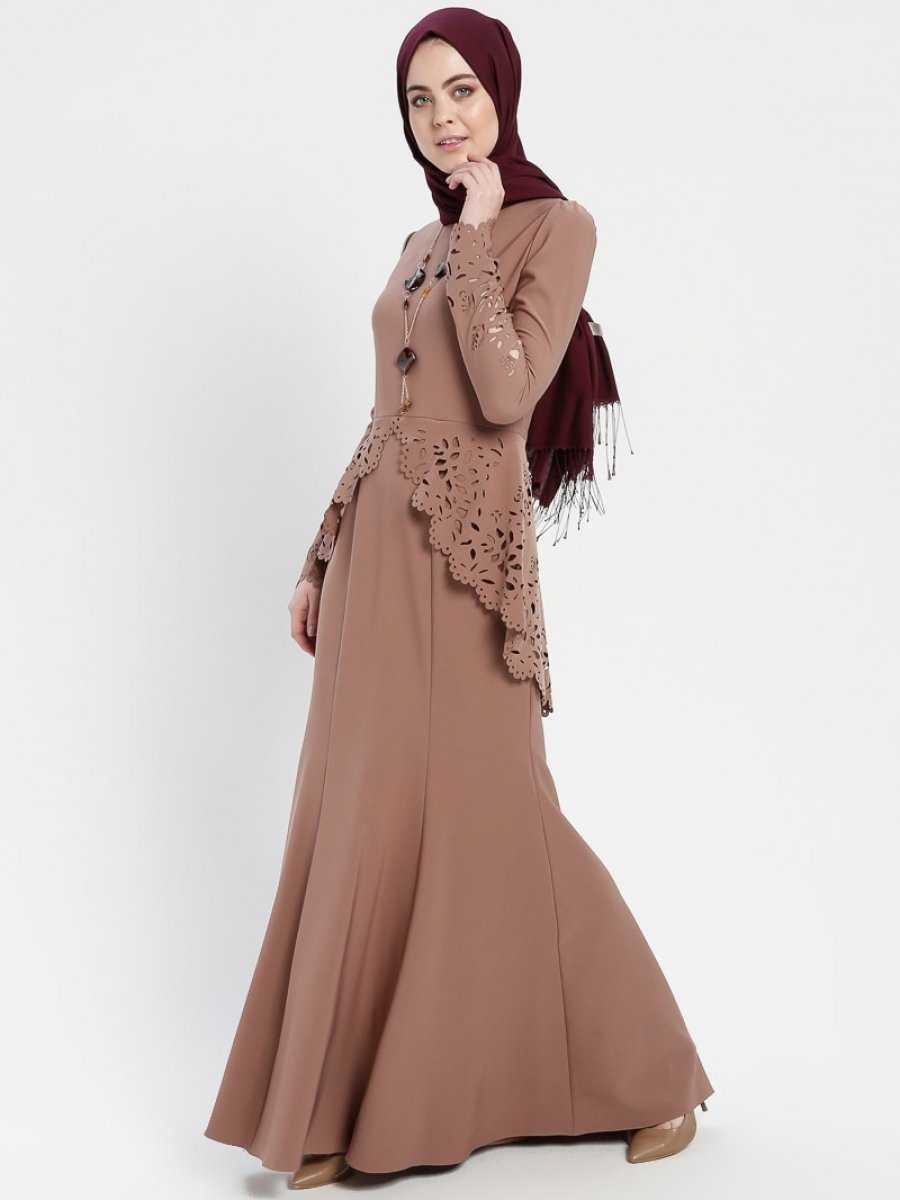 Ayşe Melek Tasarım Lazer Kesim Tesettür Vizon Abiye Elbise Modelleri