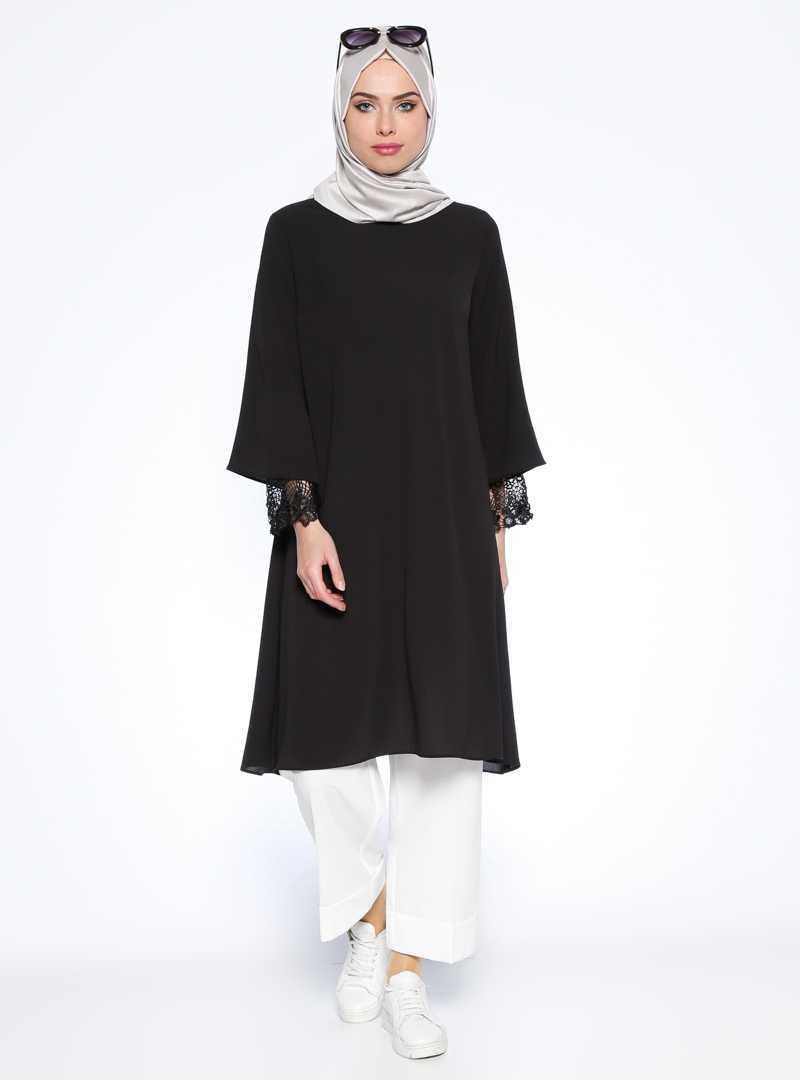 Beha Tesettür Siyah Renk Tunik Modası