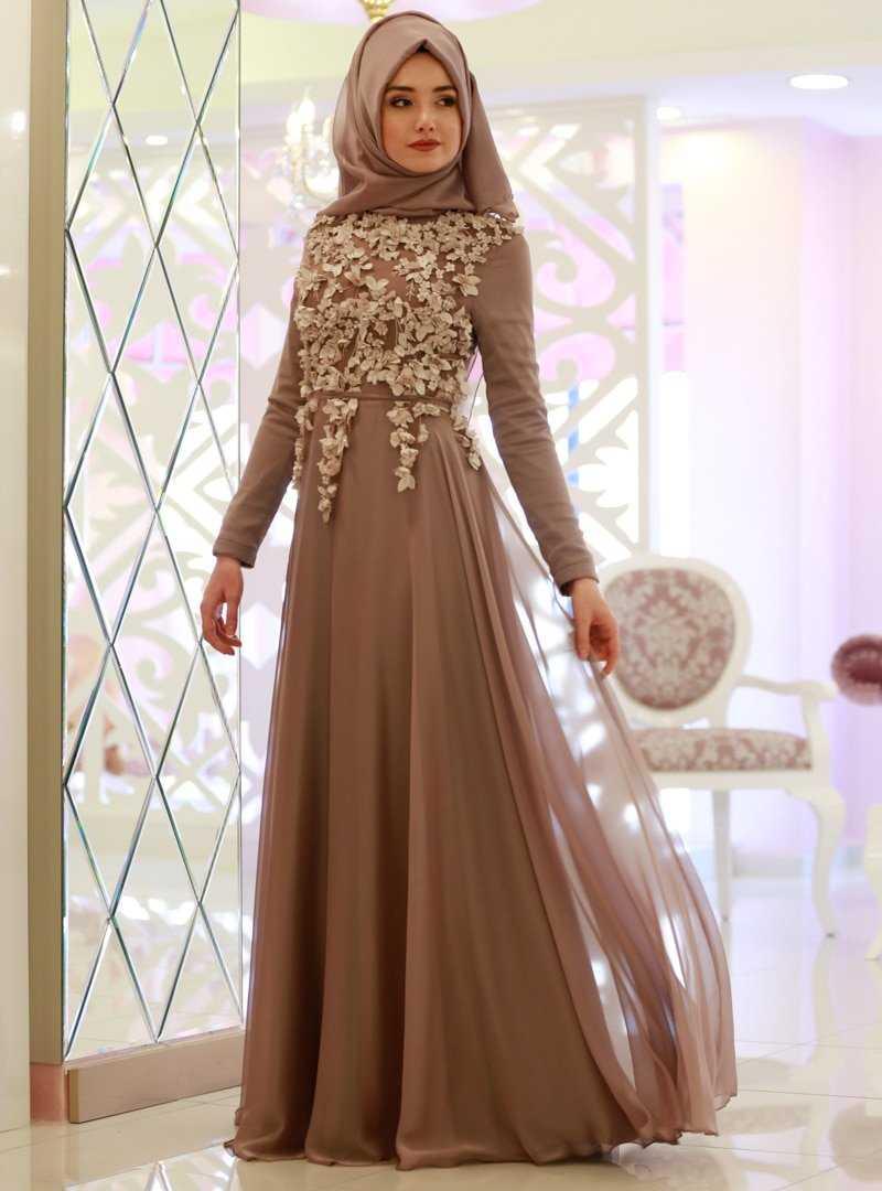 Gamze Özkul Tesettür Şifon Abiye Elbise Modelleri