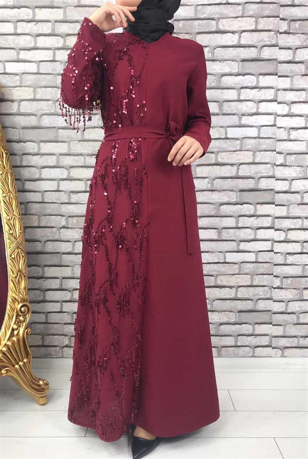 Gizemsmoda Pullu Tesettür Bordo Abiye Elbise Modelleri