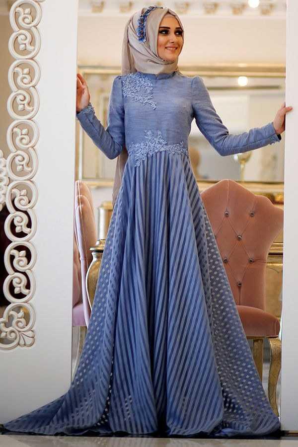 Minel Aşk Tesettür İndigo Abiye Elbise Modelleri